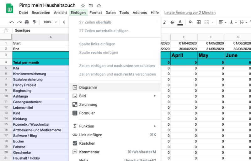 Einfaches Haushaltsbuch mit Google Formulare und Google Tabellen erstellen