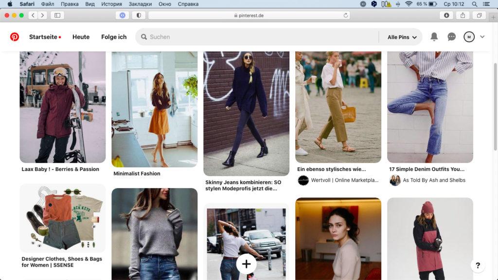 Auf Pinterest kannst du Pinnwände anlegen, auf denen du Bilder von Outfits und schönen Kleidungsstücken sammelst.