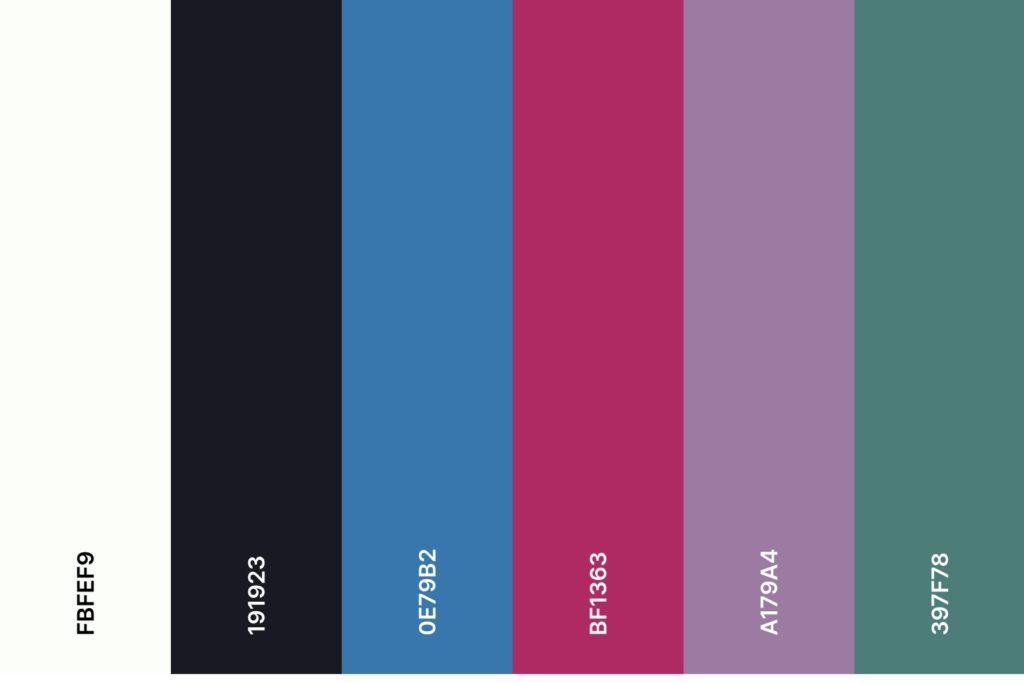 Farbpalette für den Farbtyp Winter