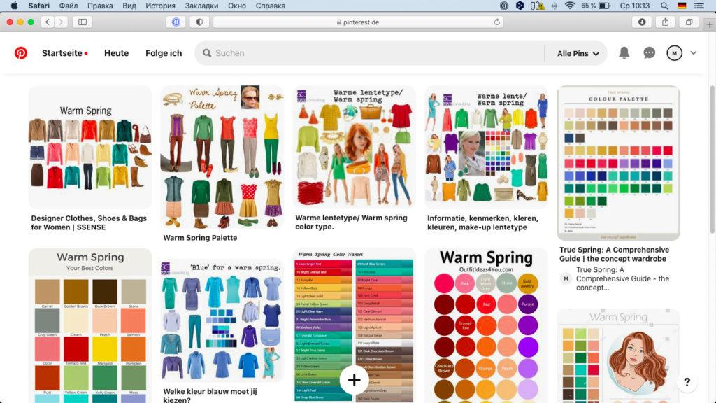 Pinterest-Inspirationen zum Farbtyp